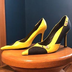 Yellow and black heels. Charles David